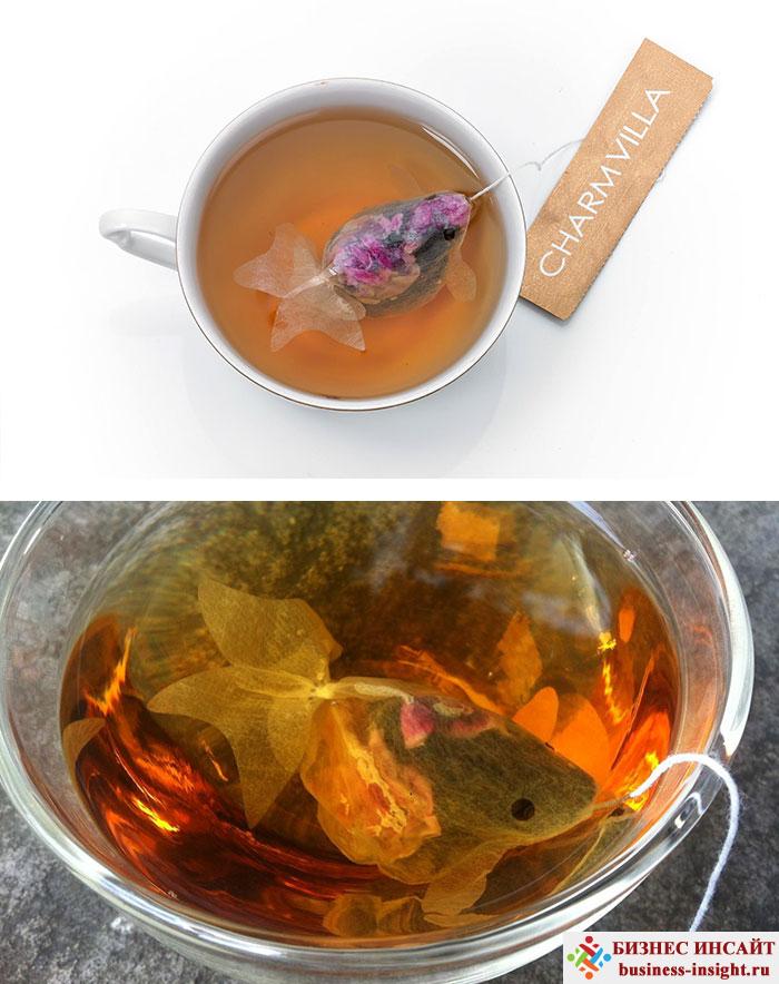 Креативные чайные пакетики Золотая рыбка