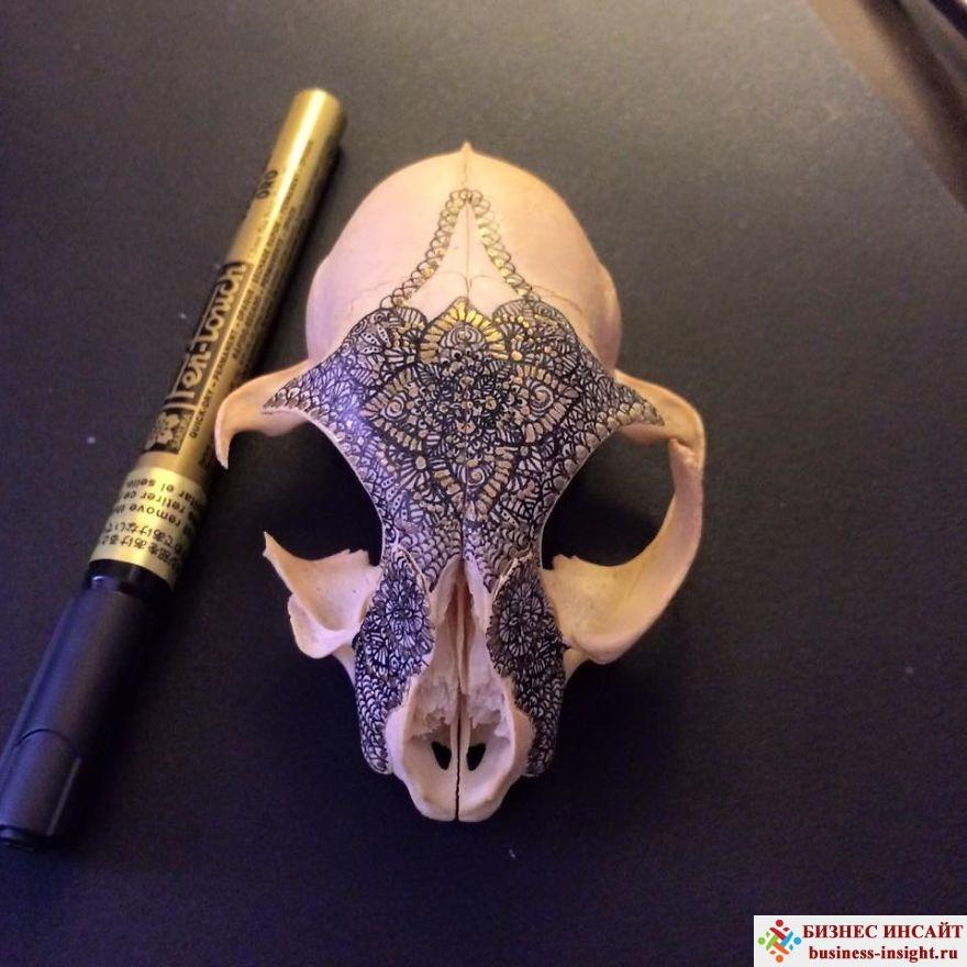 Декоративный череп с золотой мандалой Ондатра