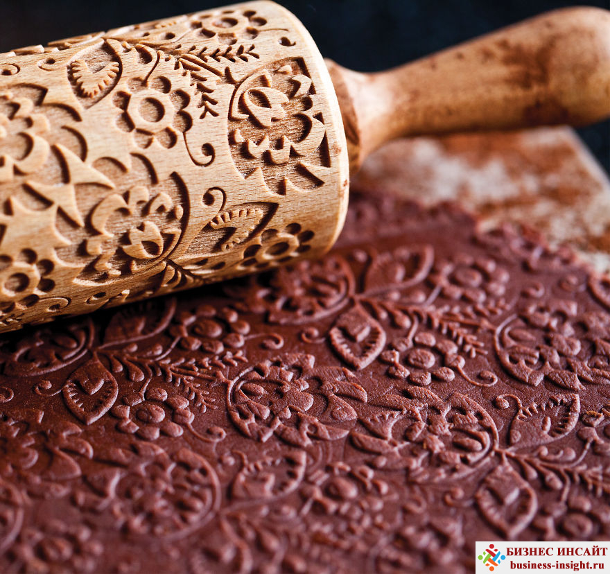 Скалка для выпечки с рельефным рисунком