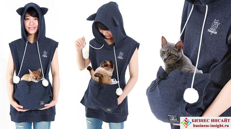 Толстовка с передним карманом для переноски кота