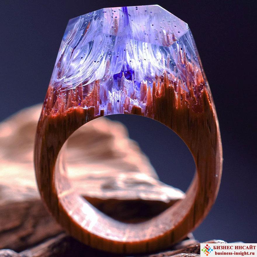 Кольца из дерева и стекла