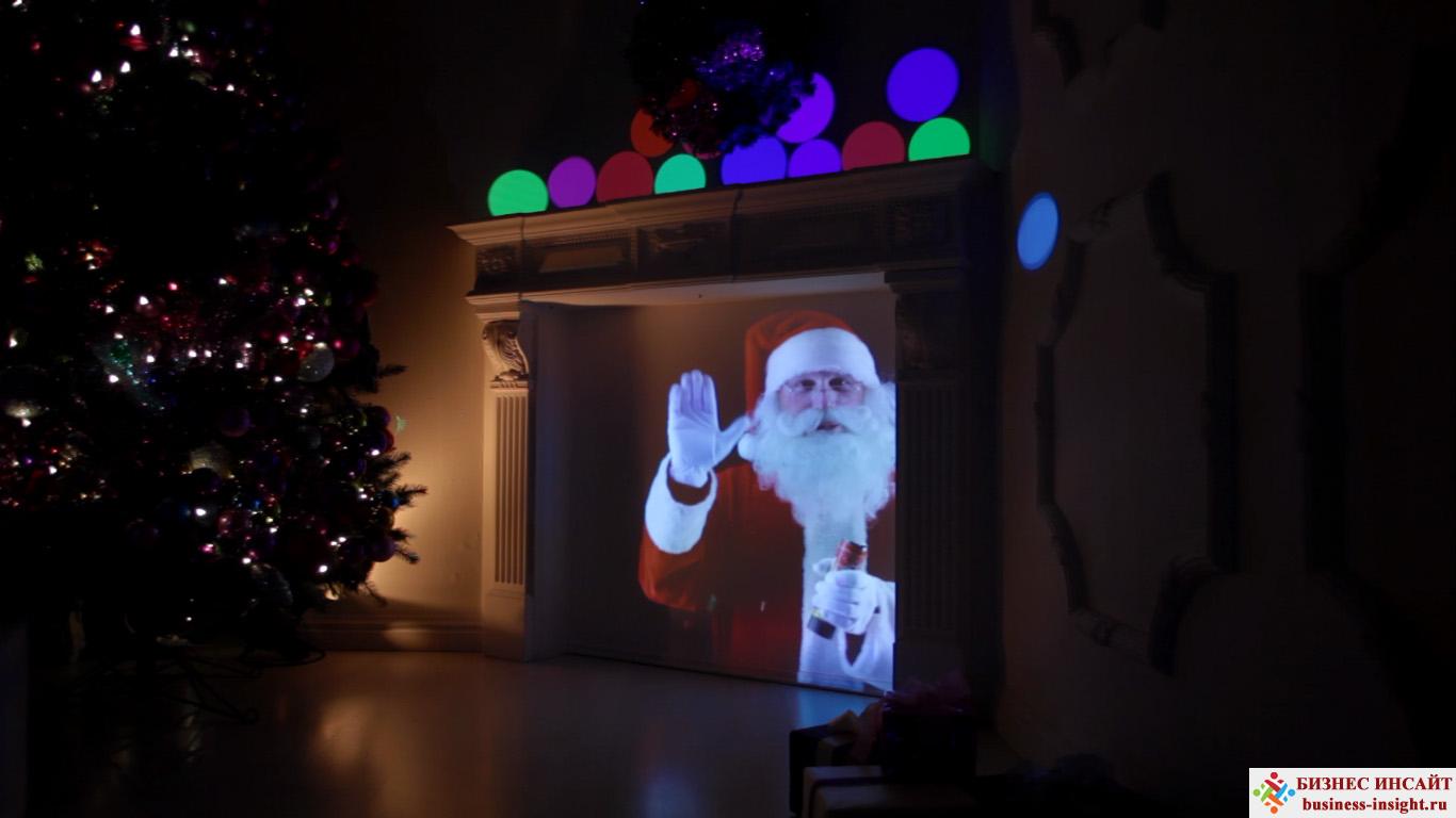 Проекционный дизайн. Санта-Клаус в камине.