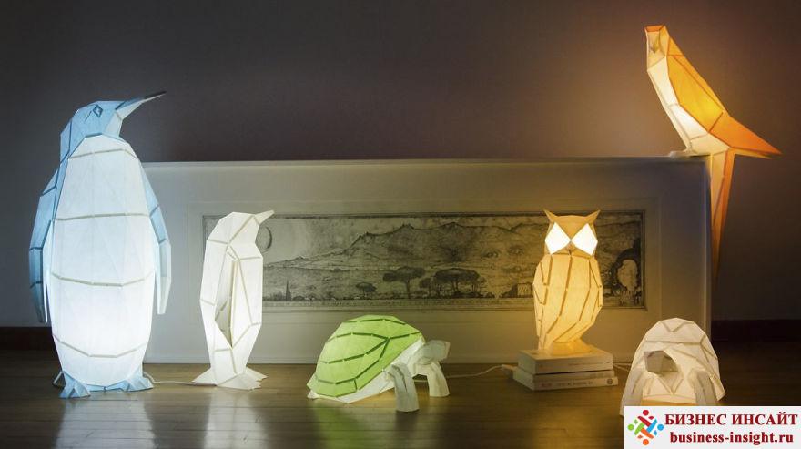 Лампа в виде животного в стиле оригами