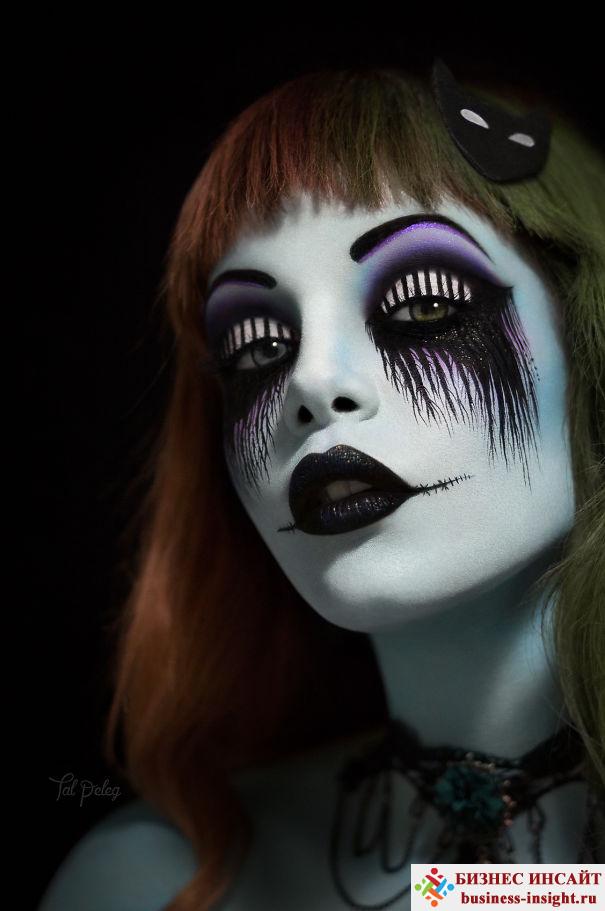Рисунки на веках и вокруг глаз – отличный макияж на Хеллоуин