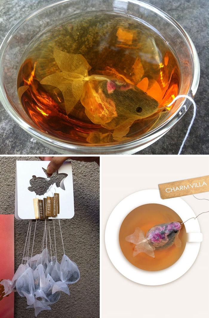 1. Чайный пакетик в виде золотой рыбки