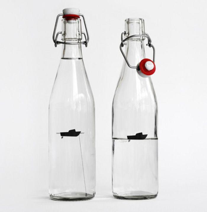 111. Бутылка воды Рыбацкая лодка