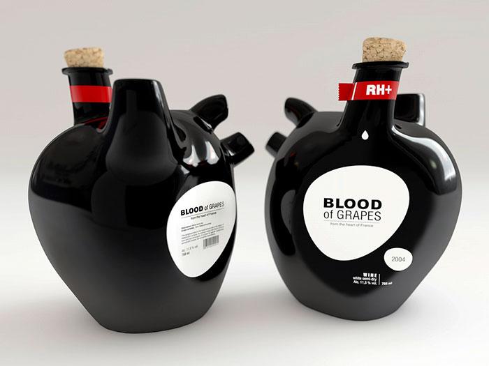 39. Винная бутылка в виде сердца, основанная на концепции вина как крови