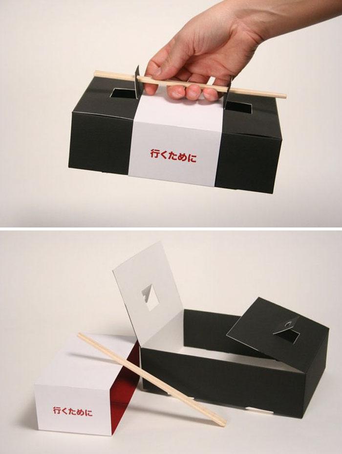 48. Упаковка для суши с собой, с палочками вместо ручек
