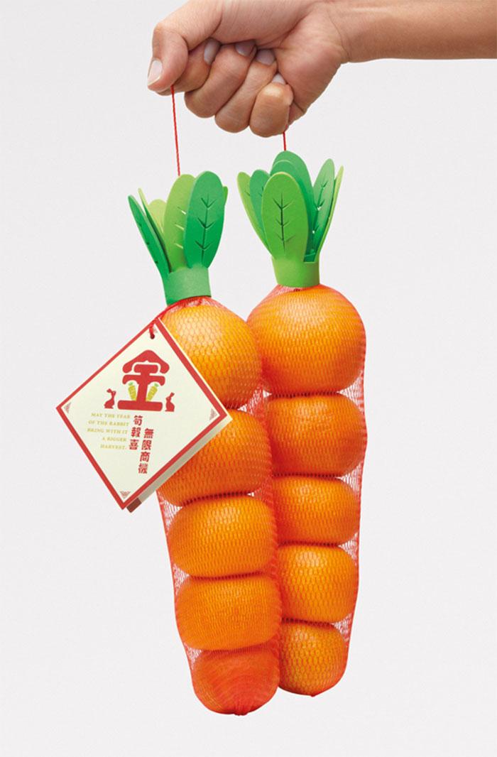 70. Упаковка апельсинов, похожая на морковь