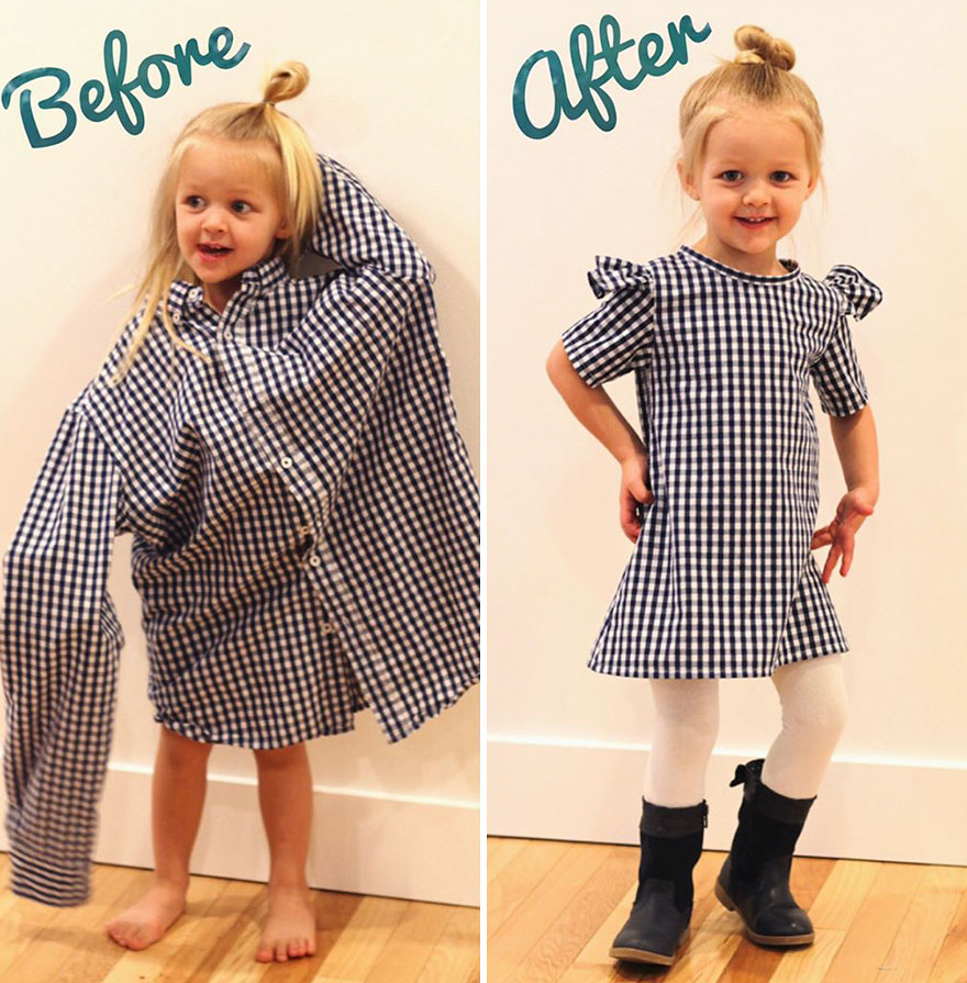 Детское платье из мужской рубашки