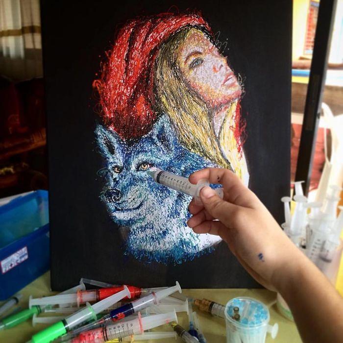Картины из шприца